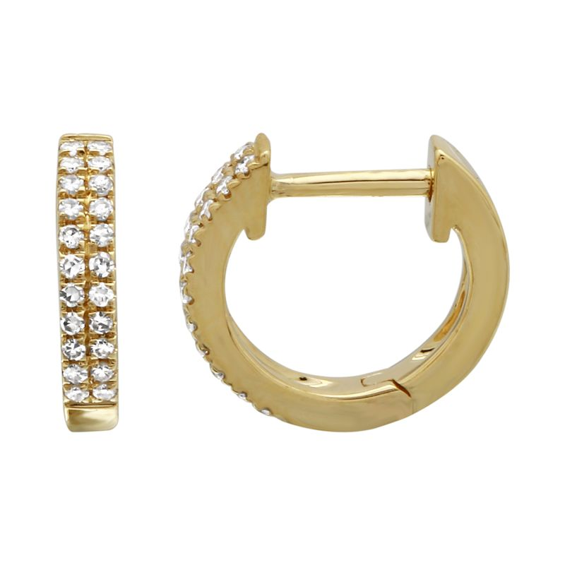 Double Diamond Mini Hoop Earring - 14KT Gold - Monisha Melwani Jewelry