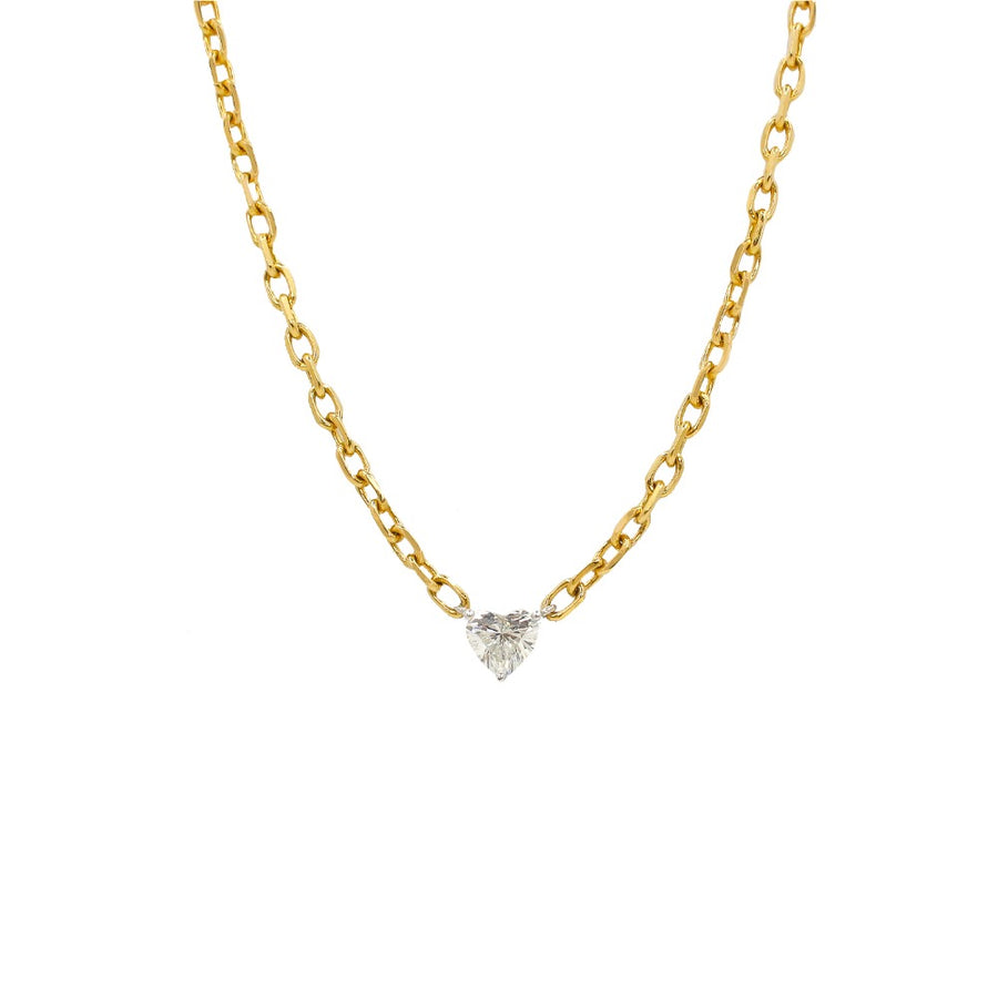 Gold Diamond Prong Heart Necklace - 14KT Gold - Monisha Melwani Jewelry