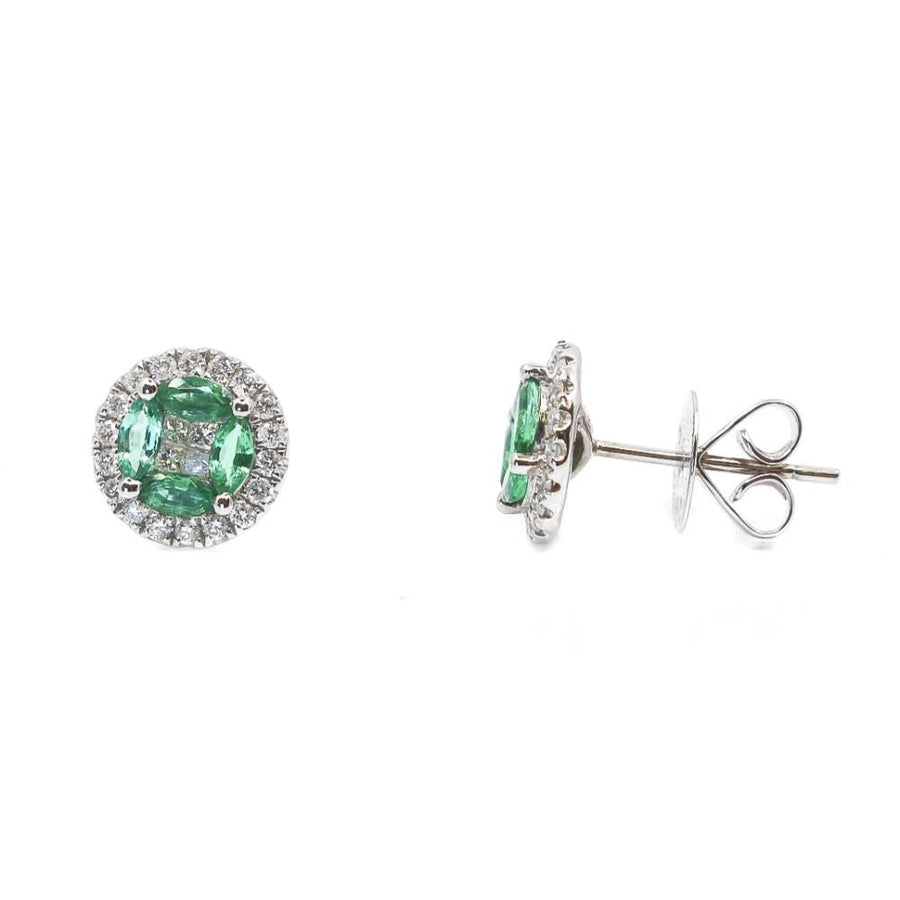 Diamond Emerald Round Earrings - 18KT Gold - Monisha Melwani Jewelry