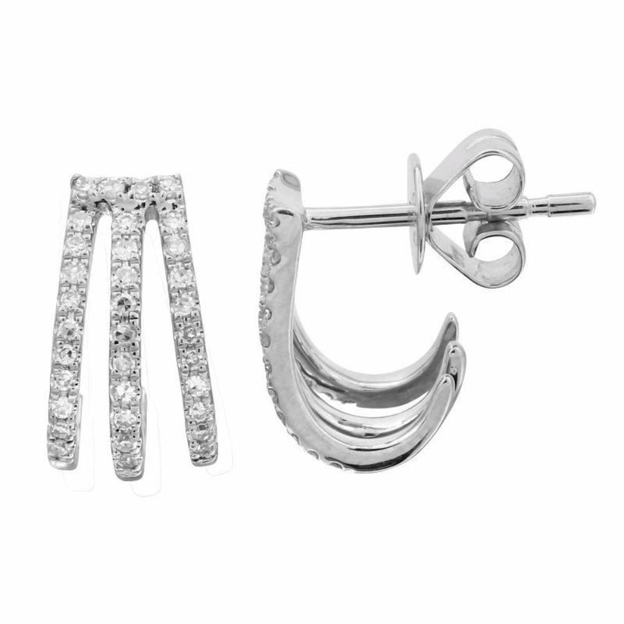Triple Diamond Cage Earrings - 14KT Gold - Monisha Melwani Jewelry
