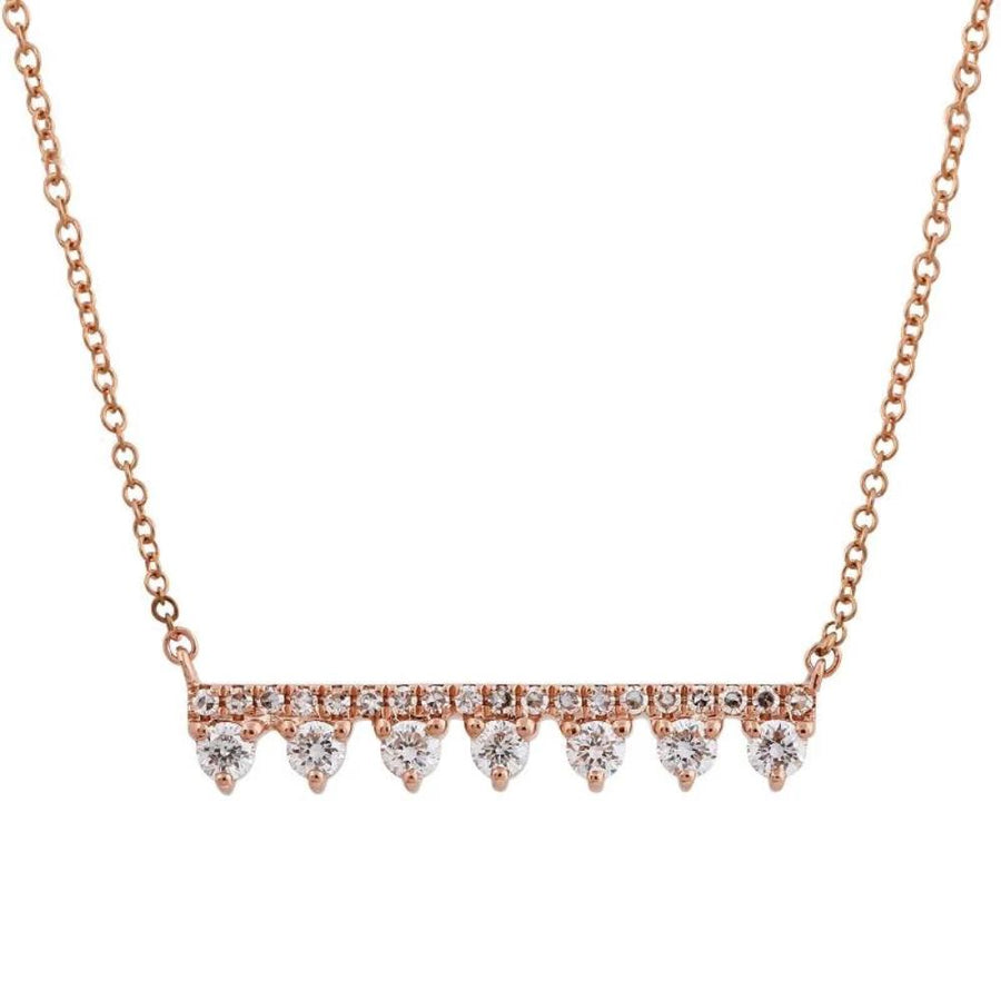 Gold Diamond Bar Necklace - 14KT Gold - Monisha Melwani Jewelry