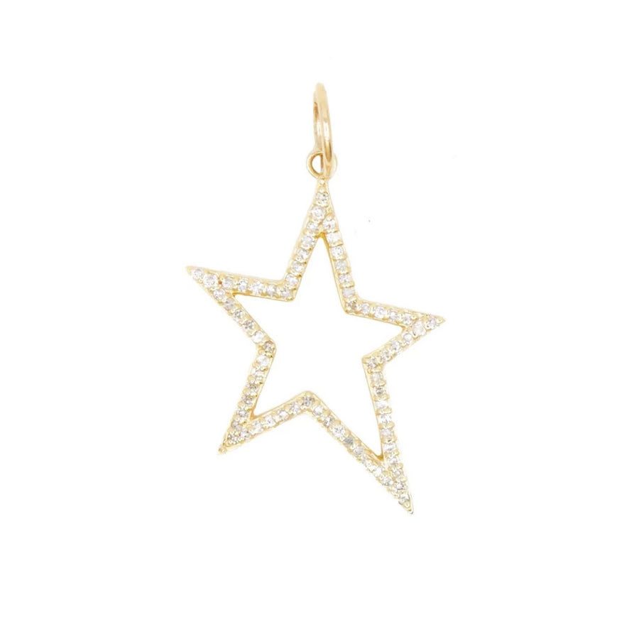 Gold Diamond Open Star Pendant