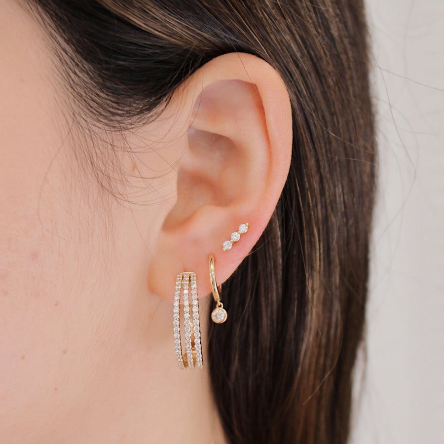 Gold Diamond 3 Line Hoop Earrings