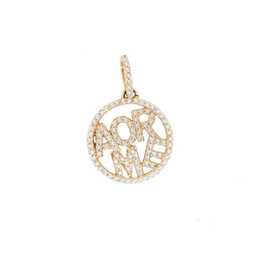 14KT Yellow Gold Diamond Amore Pendant- Monisha Melwani Jewelry