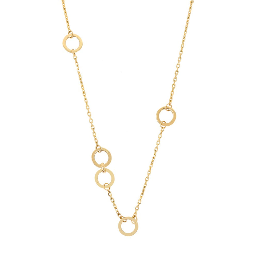 Gold Multi Round Clasp Necklace - 14kT Gold - Monisha Melwani Jewelry