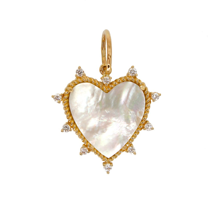 Gold Mother of Pearl Heart Diamond Pendant - 14KT Gold - Monisha Melwani Jewelry