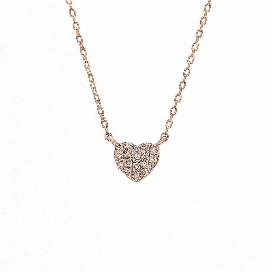 Gold Mini Diamond Heart Necklace - 14KT Gold - Monisha Melwani Jewelry
