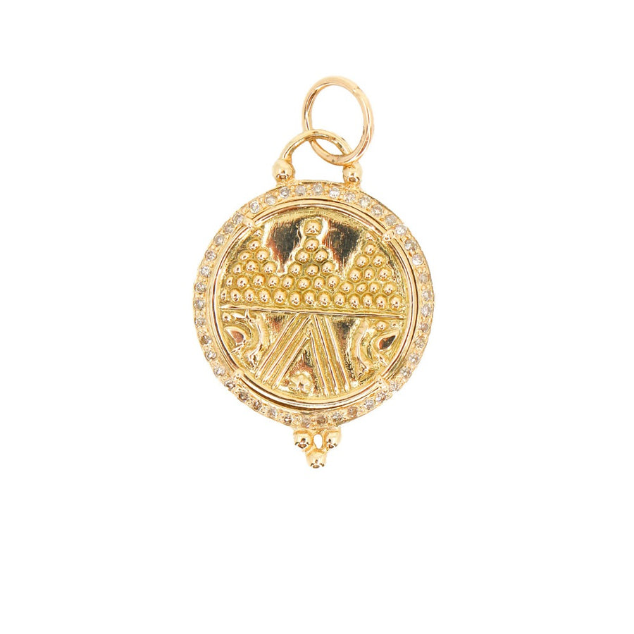 14KT Yellow Gold Diamond Medallion Pendant- Monisha Melwani Jewelry
