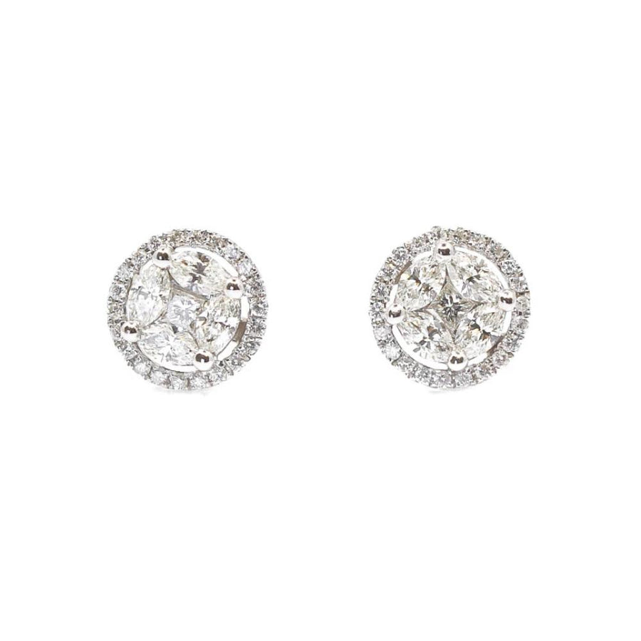 Round Diamond Earrings - 18KT Gold - Monisha Melwani Jewelry
