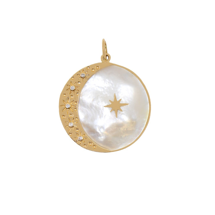 Gold Mother Of Pearl Moon and Star Pendant - 14KT Gold - Monisha Melwani Jewelry