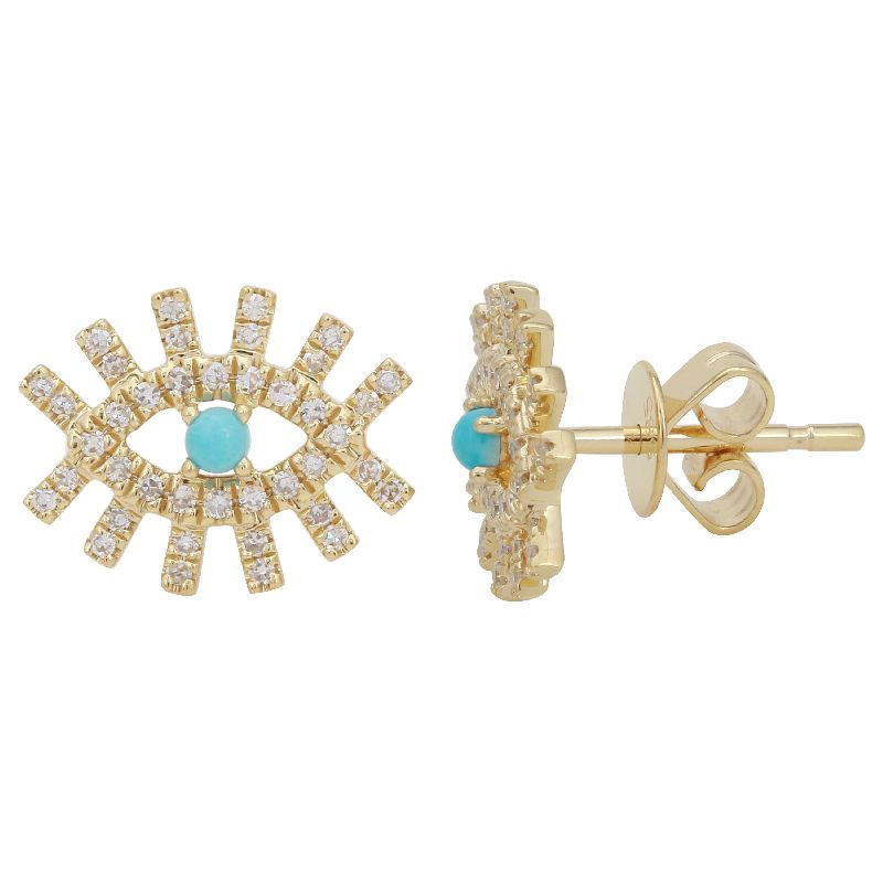 Gold Turquoise Diamond Evil Eye Earrings - 14KT Gold - Monisha Melwani Jewelry