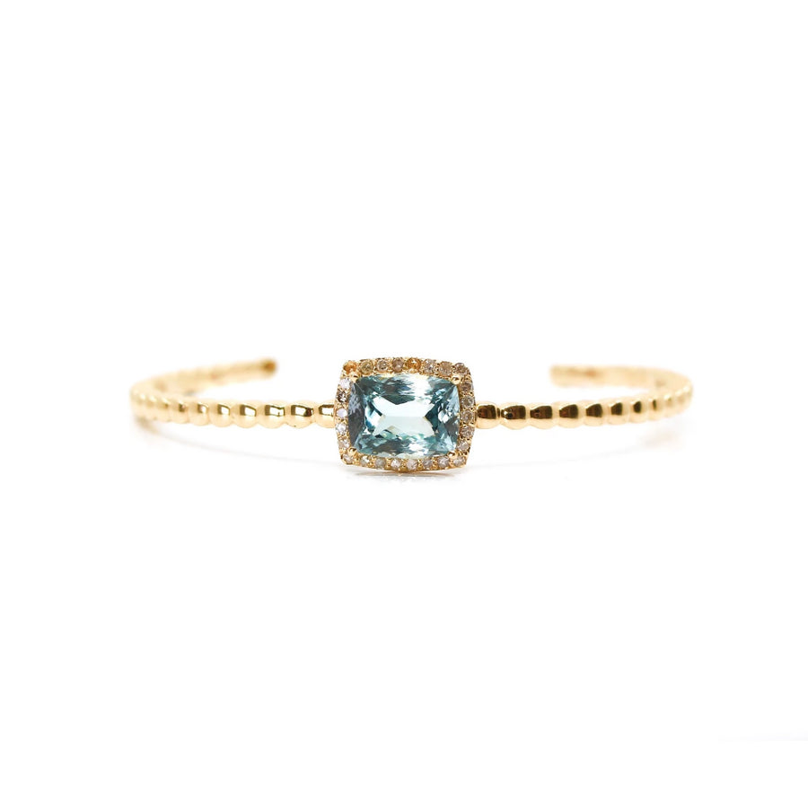Gold Aquamarine Diamond Cuff - 14KT Gold - Monisha Melwani Jewelry
