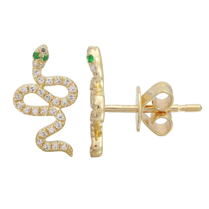 Gold Pave Diamond and Green Snake Earrings- 14KT Yellow Gold Emerald Studs | Monisha Melwani Jewelry