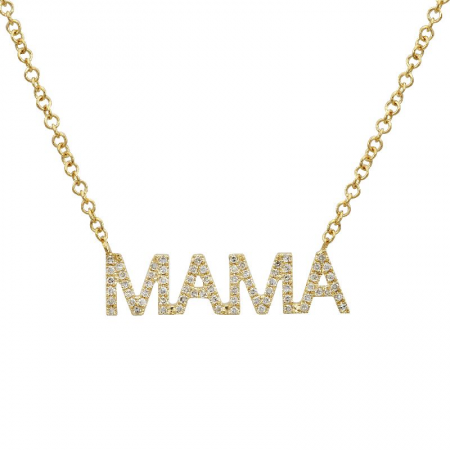 Gold Diamond Mama Necklace - 14kT Gold - Monisha Melwani Jewelry
