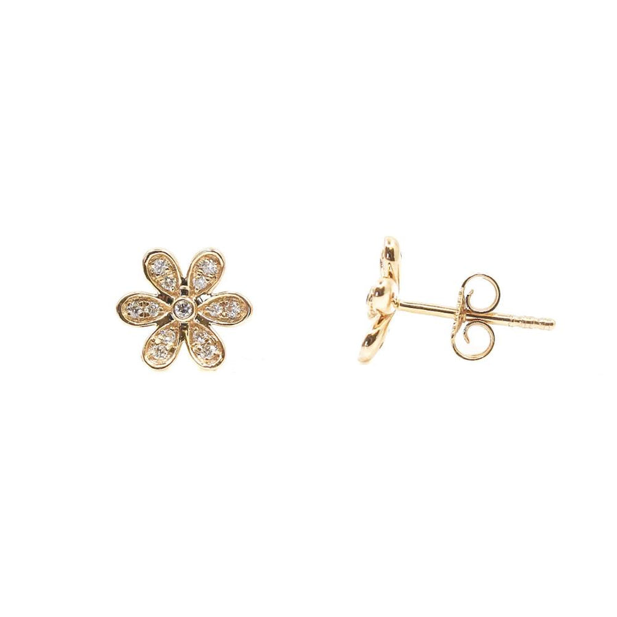 Gold Diamond Flower Earrings - 14KT Gold - Monisha Melwani Jewelry