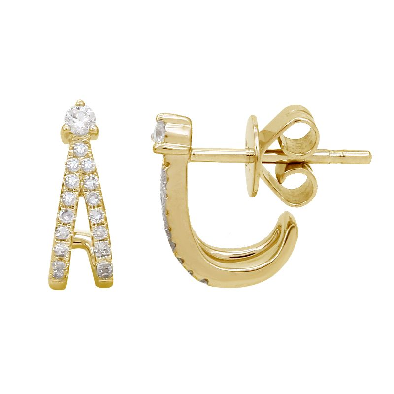 Double Diamond Cage Earrings - 14KT Gold - Monisha Melwani Jewelry