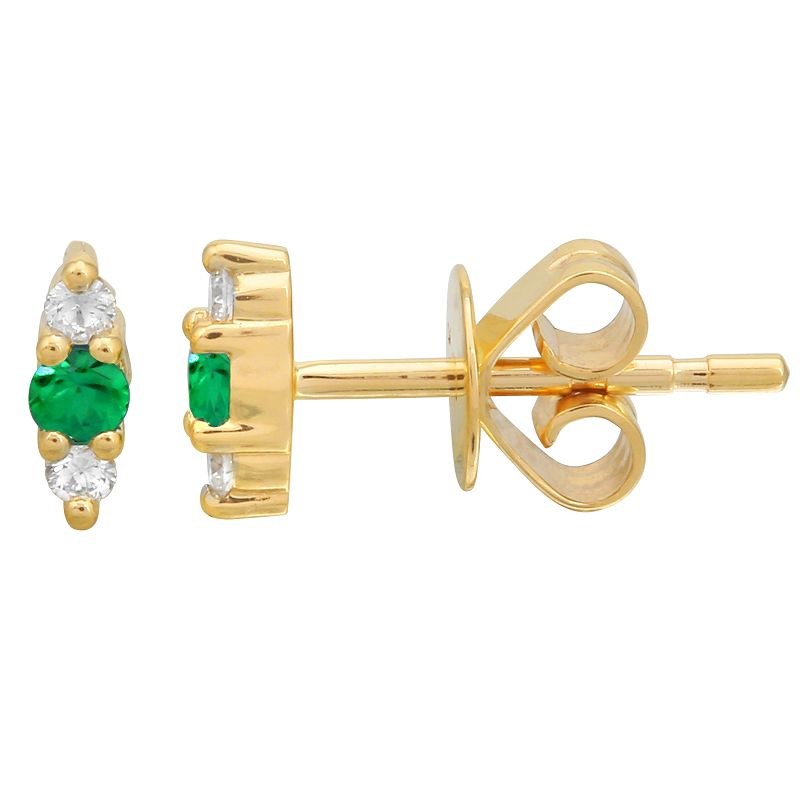 Gold Diamond and Emerald Triple Bar Earring- 14KT Yellow Gold Studs- Monisha Melwani Jewelry