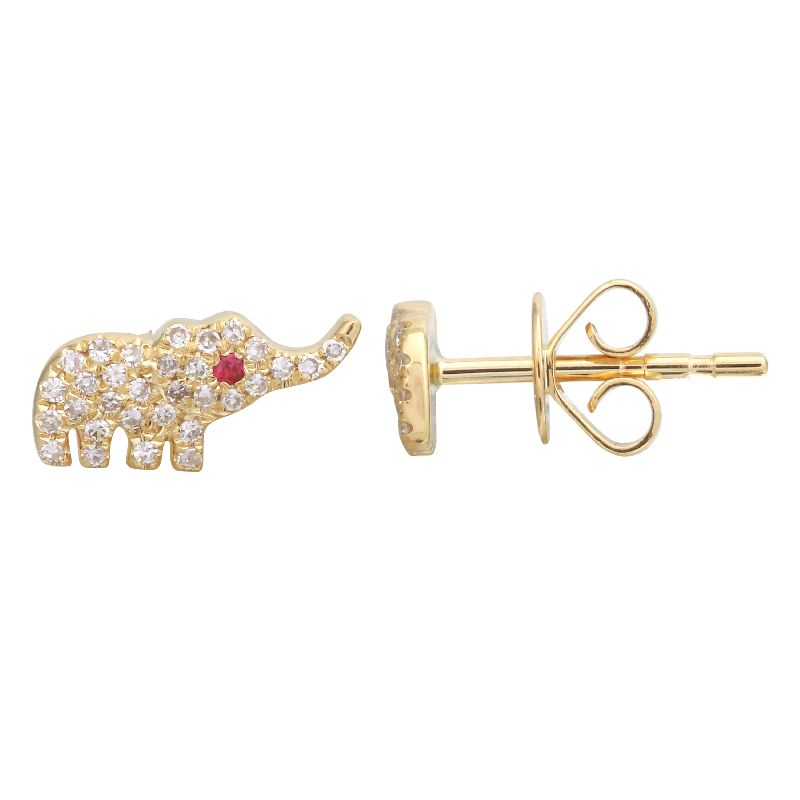 Diamond 14KT Gold Elephant Fine Jewelry Earrings