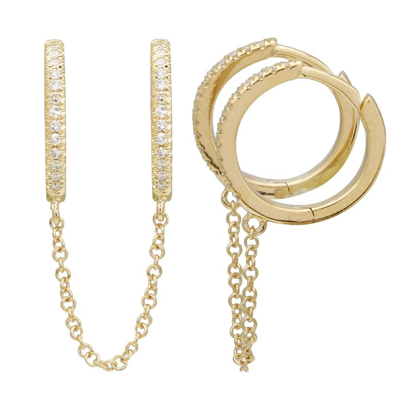 Gold Diamond Double Hoop Chain Earring - 14KT Gold - Monisha Melwani Jewelry