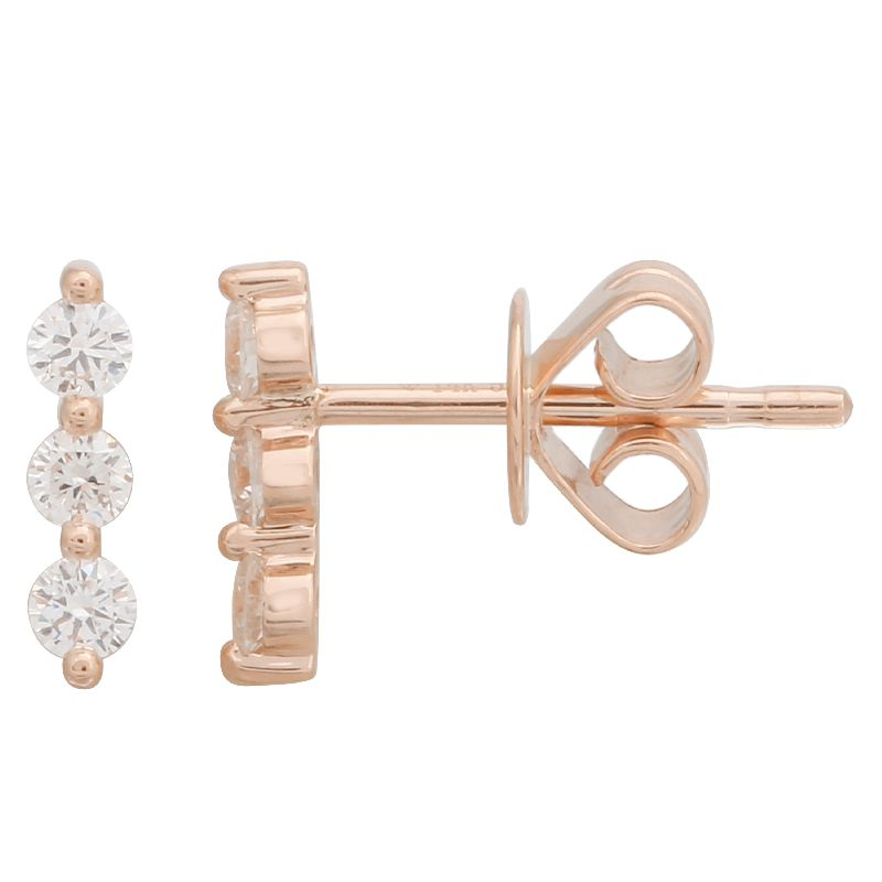 Triple Diamond Gold Bar Earring - 14KT Gold - Monisha Melwani Jewelry