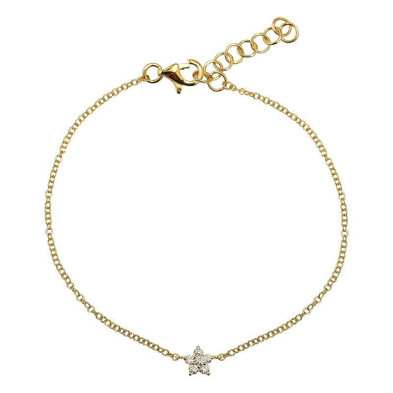 Gold Mini Diamond Flower Bracelet - 14KT Gold - Monisha Melwani Jewelry