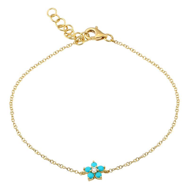 Gold Turquoise Flower Diamond Bracelet - 14KT Gold - Monisha Melwani Jewelry