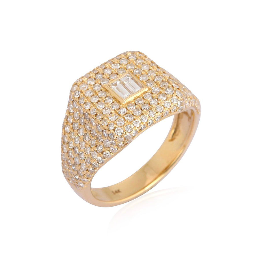 Gold Pave Diamond Baguette Pinky Ring