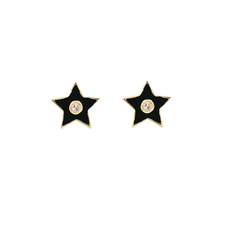 14KT Yellow Gold Diamond Black Enamel Star Earrings- Monisha Melwani Jewelry