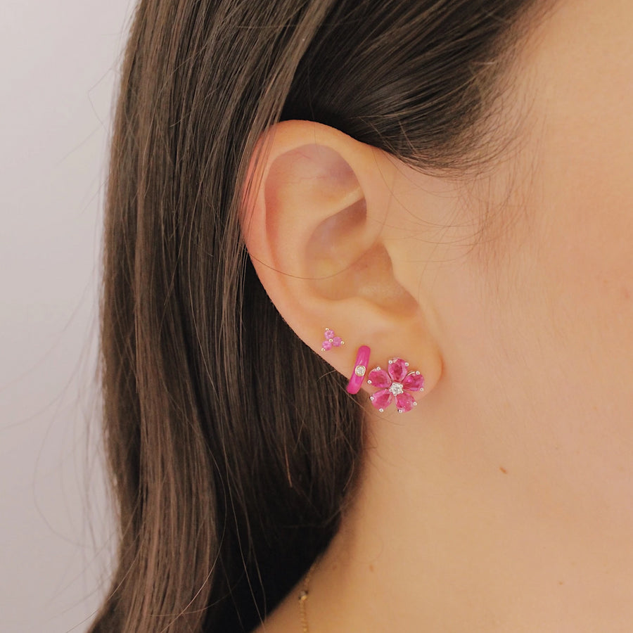 Diamond Berry Enamel Huggies - EF Collection - Monisha Melwani Jewelry