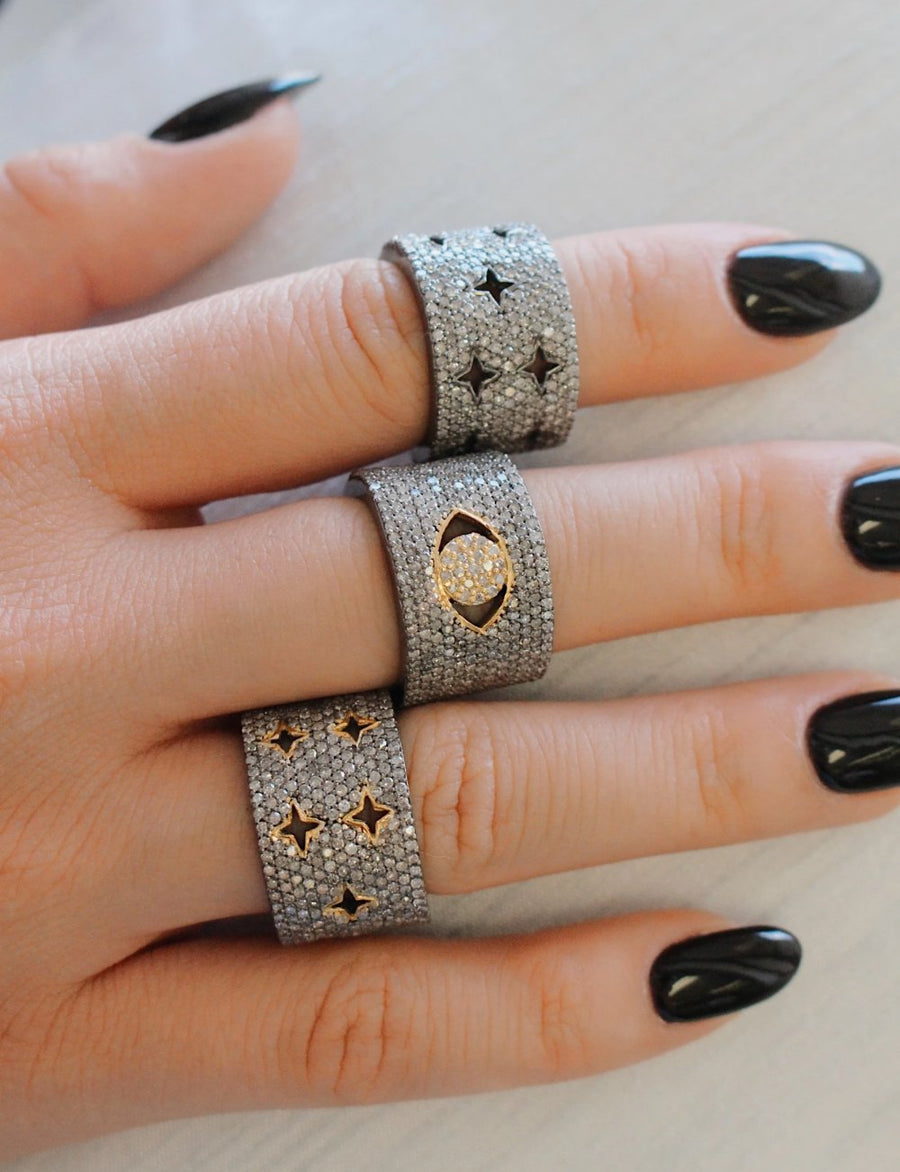 Pave Diamond Multi Star Cuff Ring