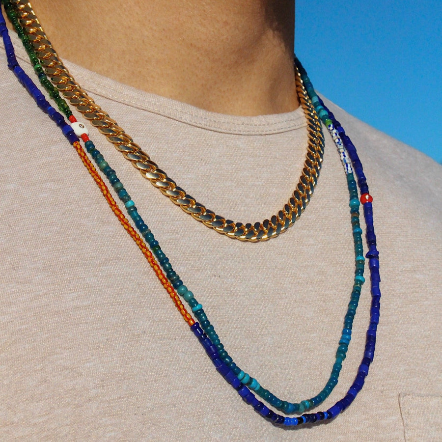 Mens 14KT Gold Enamel Blue & Green African Ghana Beaded Necklace- Monisha Melwani Jewelry