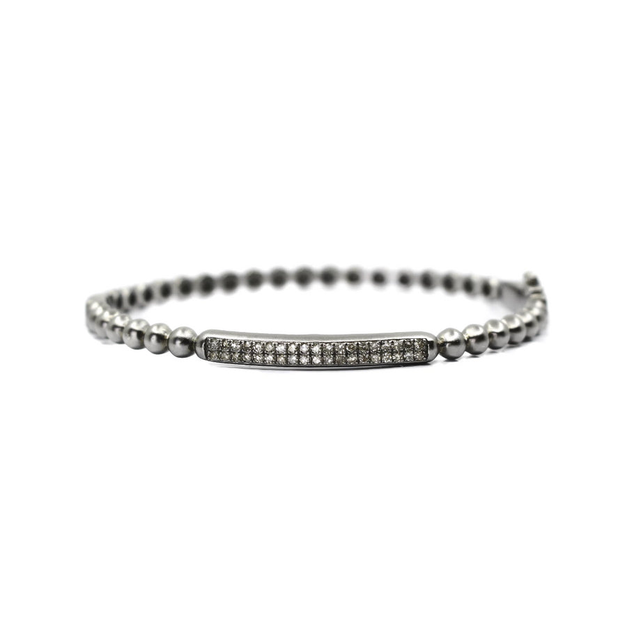 Sterling Silver Diamond Bar Bangle - Monisha Melwani Jewelry