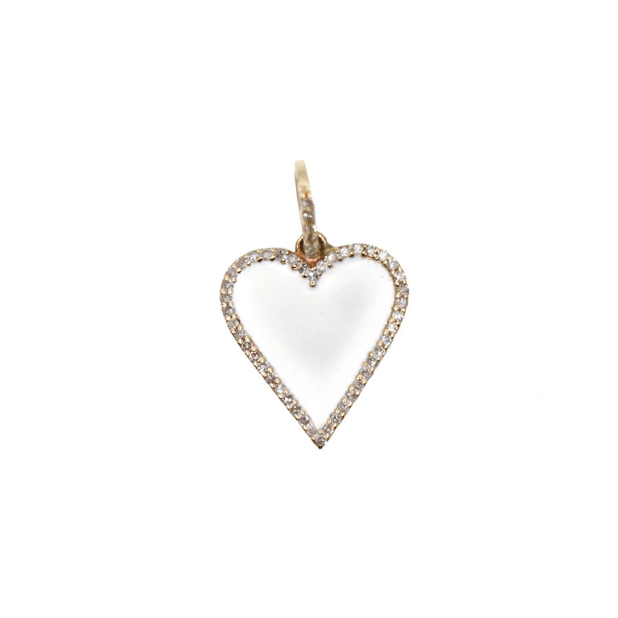 Gold Heart Enamel Pendant - 14KT Gold - Monisha Melwani Jewelry