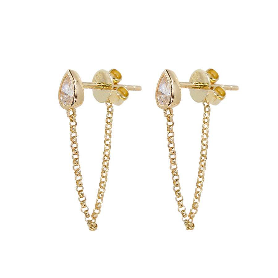 Gold Diamond Pear Chain Drop Earring - 14KT Gold - Monisha Melwani Jewelry