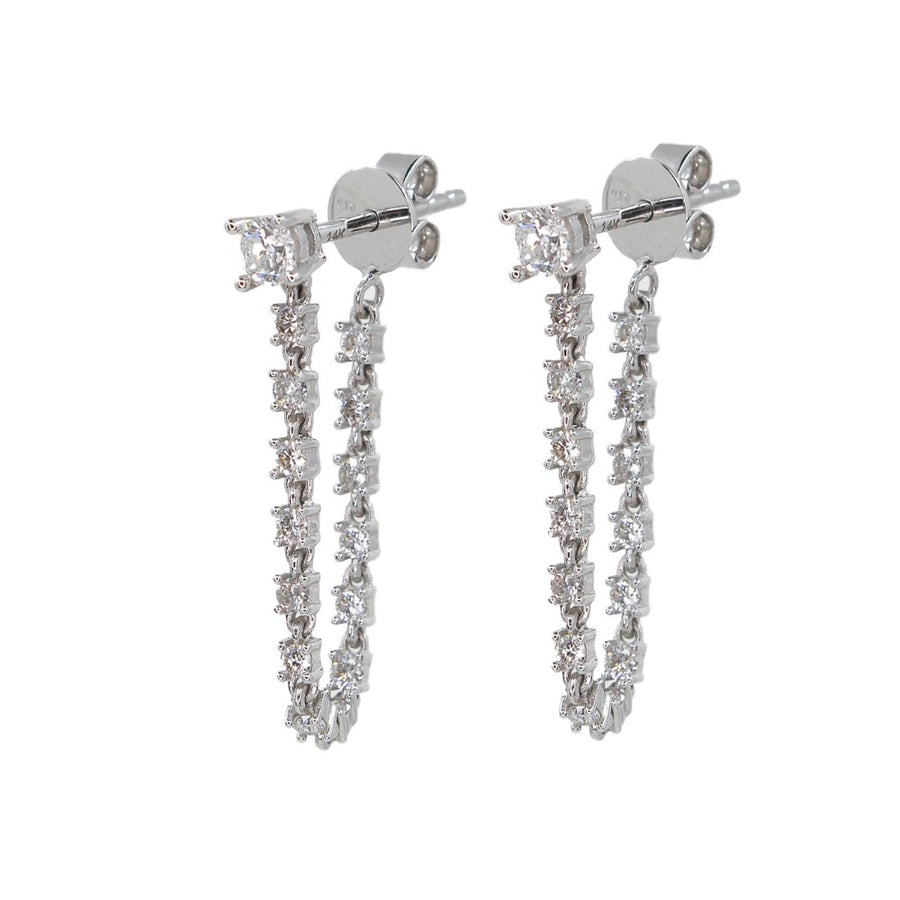 Gold Diamond Stud Chain Drop Earring