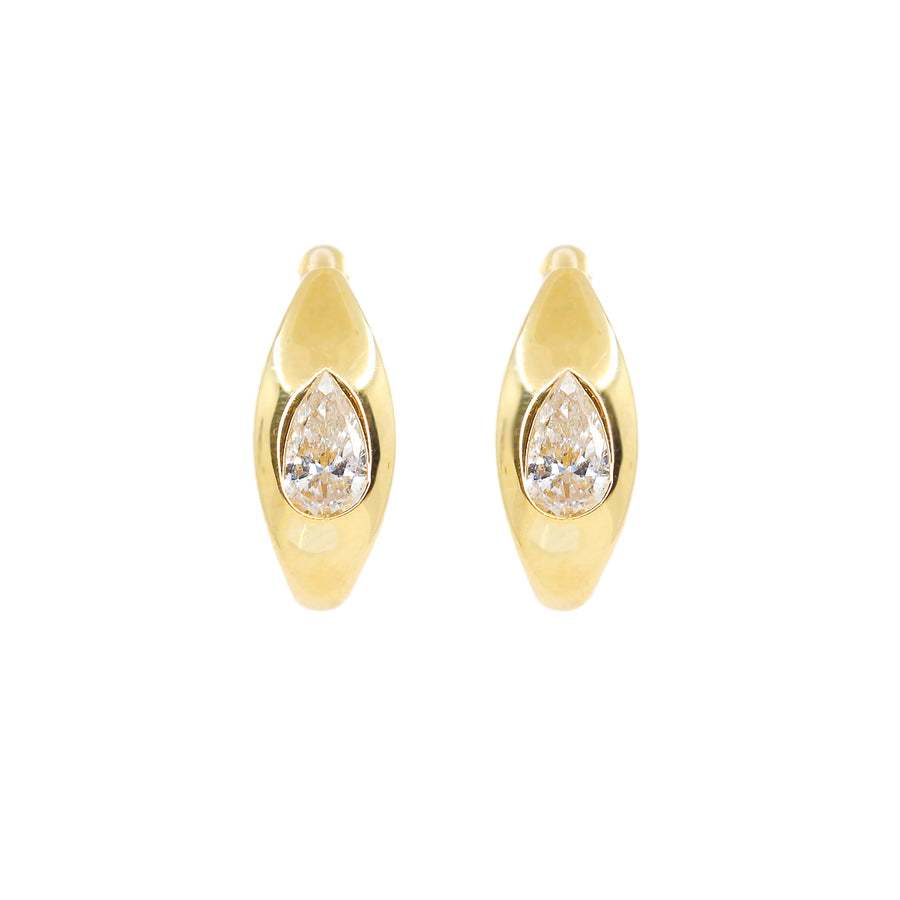 Gold Pear Diamond Medium Hoop Earrings - 14KT Gold - Monisha Melwani Jewelry