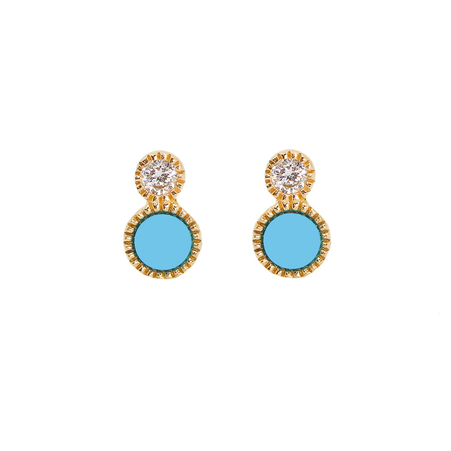 Gold Diamond and Turquoise Double Dot Earring