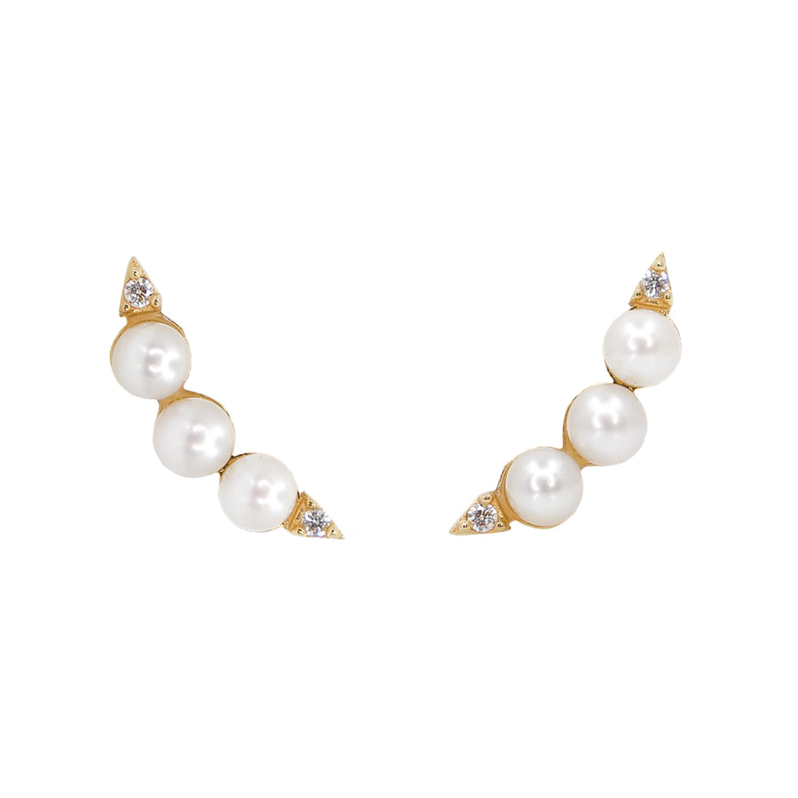 Gold Diamond Pearl Ear Climber