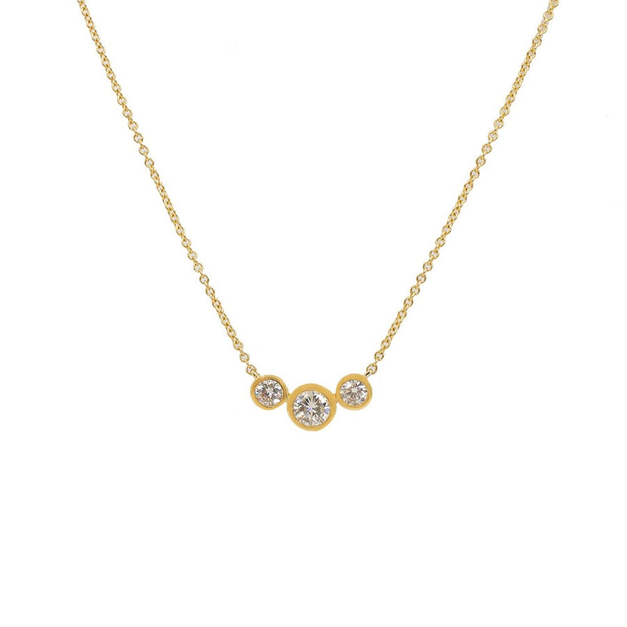 Gold Triple Diamond Bezel Necklace - 14KT Gold - Monisha Melwani Jewelry
