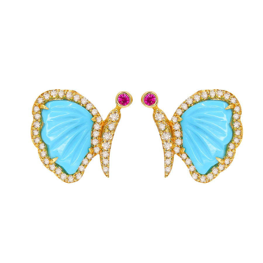 Gold Diamond Turquoise Butterfly Earring