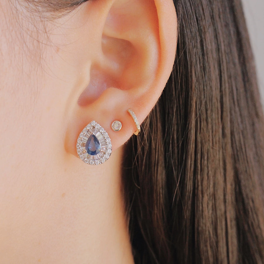 Gold Pear Shaped Blue Sapphire Earrings - 14KT Gold - Monisha Melwani Jewelry