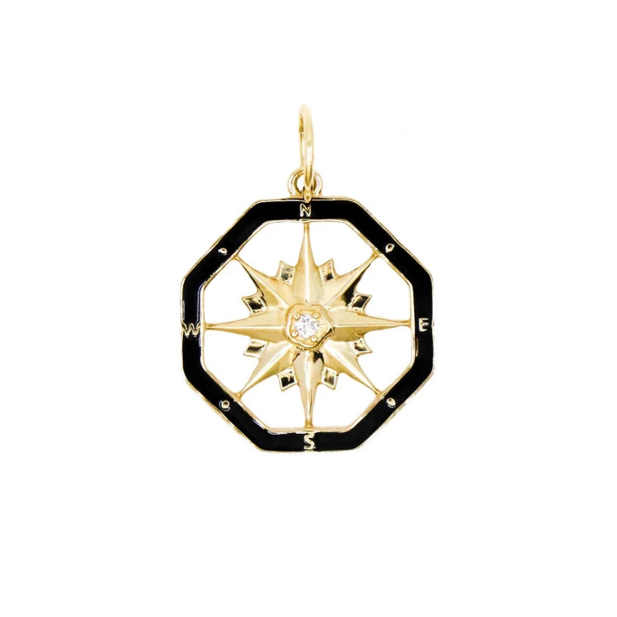 Gold Black Enamel Compass Pendant