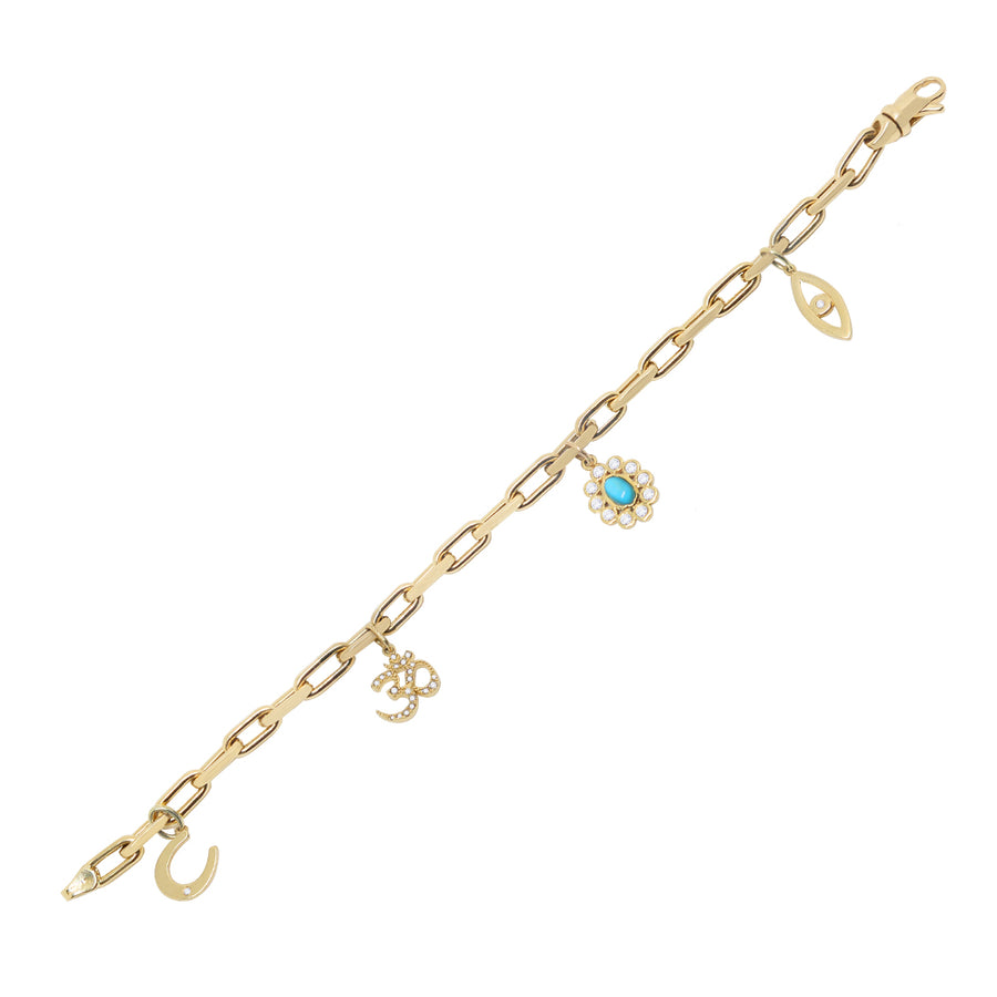Gold Multi Charm Protection Bracelet - 14KT Gold - Monisha Melwani Jewelry