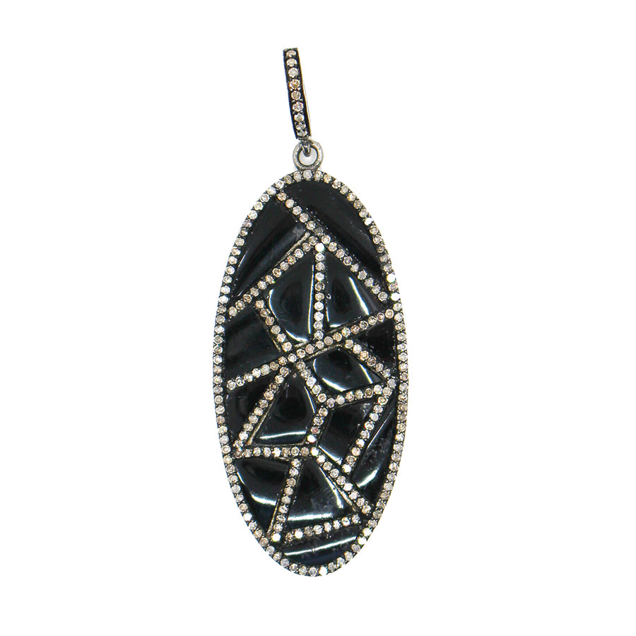 Sterling Silver Enamel Diamond Pendant - Monisha Melwani Jewelry