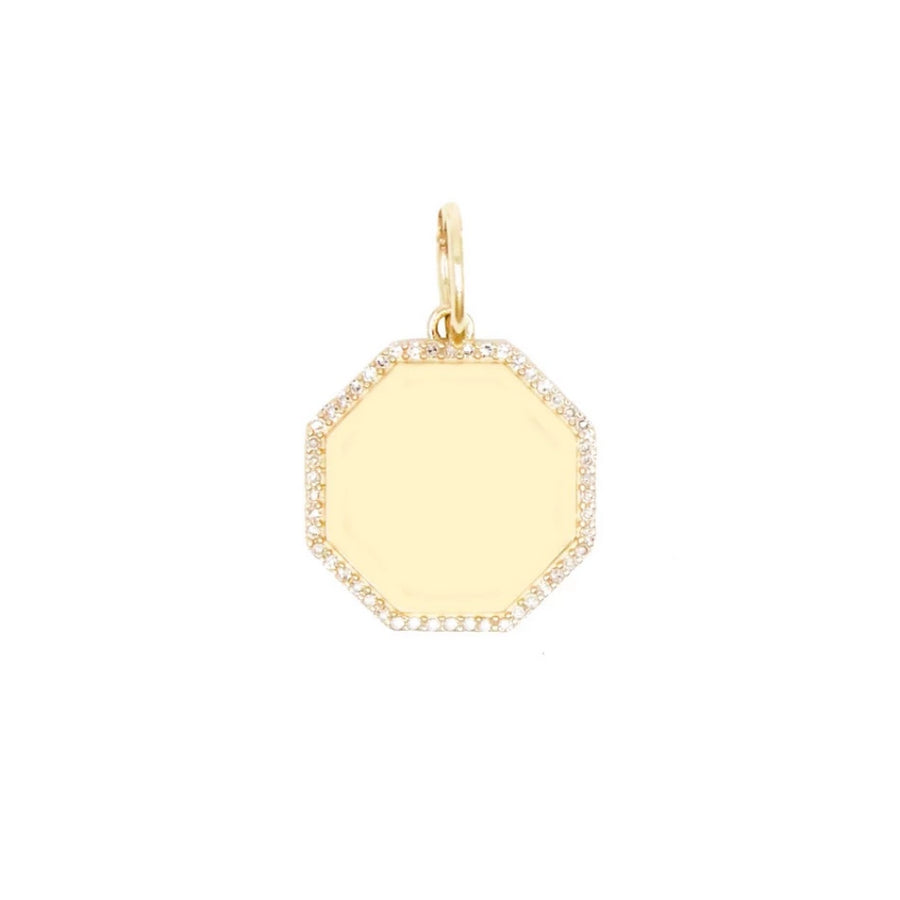 Gold Octagon Diamond Pendant - 14KT Gold - Monisha Melwani Jewelry
