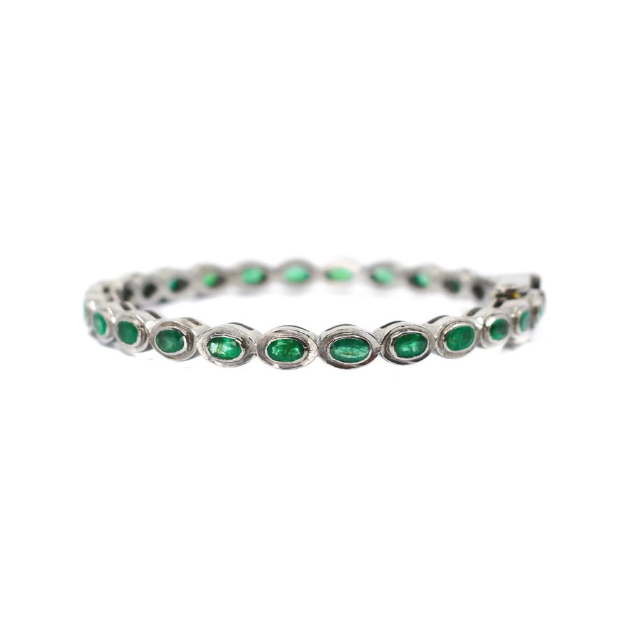Sterling Silver Emerald Bangle - Monisha Melwani Jewelry