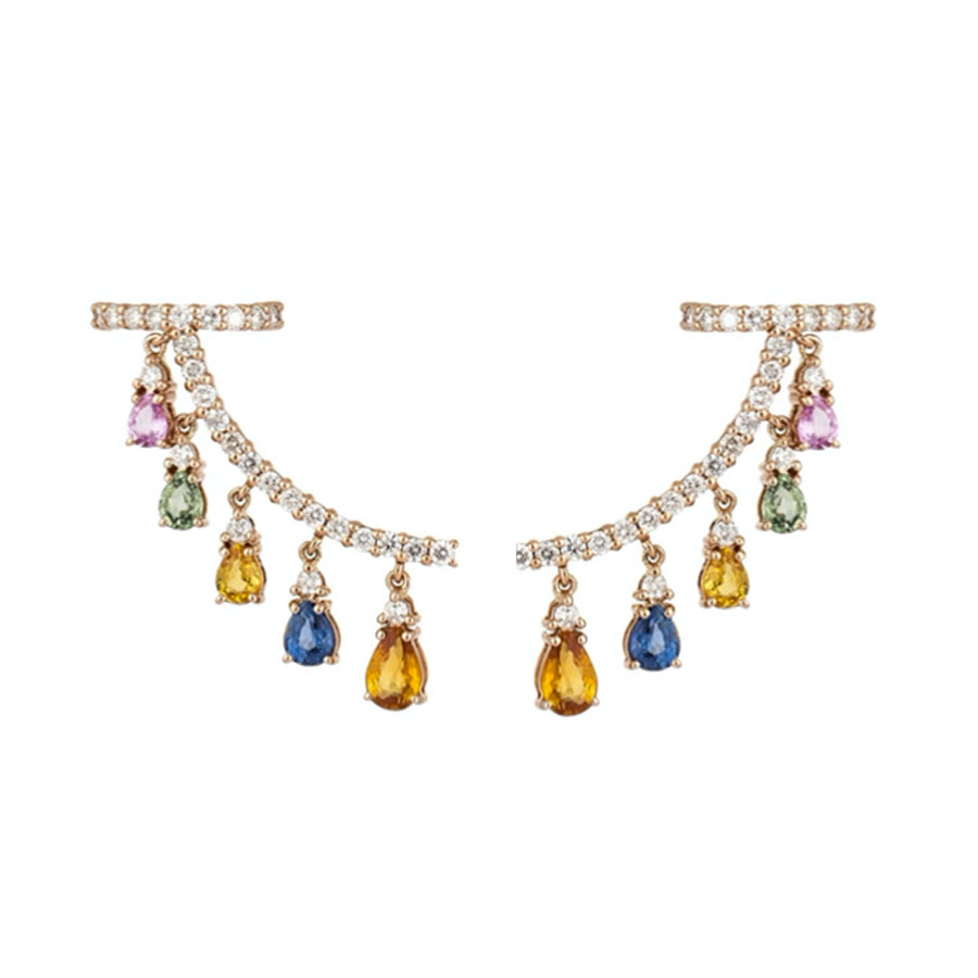 Gold Multi Sapphire Diamond Drop Crawler Earrings - 18KT Gold - Monisha Melwani Jewelry