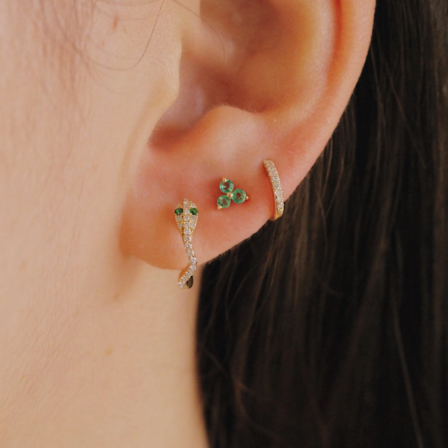 Yellow Gold Emerald Trio Earrings - Monisha Melwani Jewelry