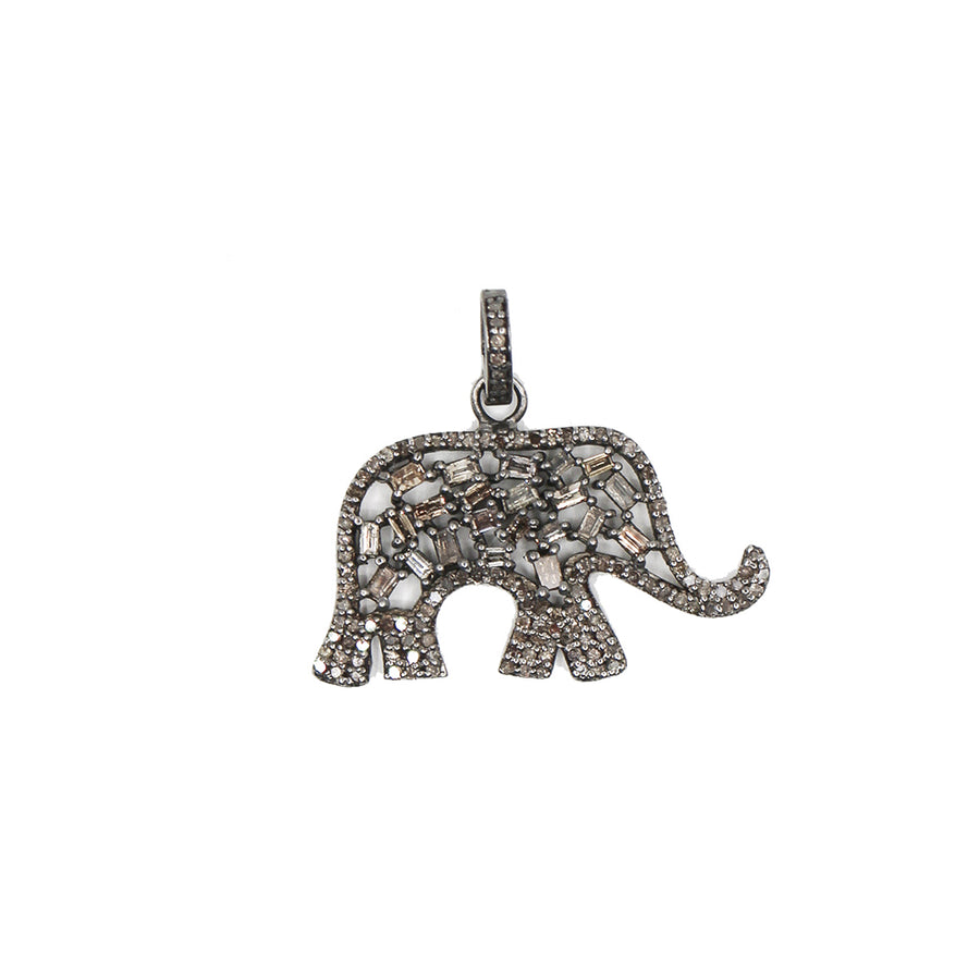 Sterling Silver Elephant Diamond Pendant - Monisha Melwani jewelry