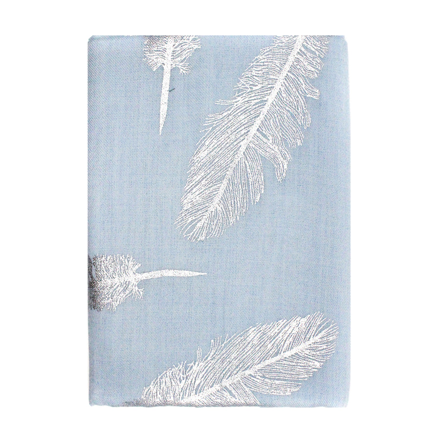 Light Blue Feather Pashmina Shawl - Monisha Melwani Jewelry - MIY